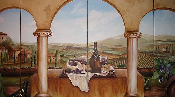 wine cellar murals Tuscan Vineyard Mural Dining Room Kirkland wine cellar ideas wine still life