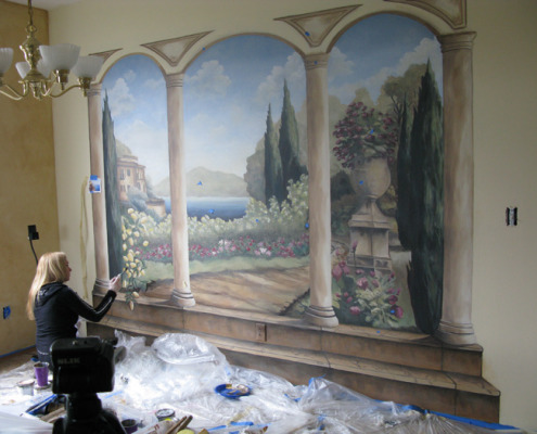 Formal Garden Mural In Progress Living Room Bellevue Interior Designer Houzz Artist Murals Seattle Tacoma