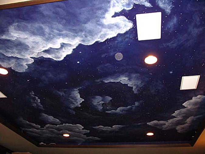 Cloud ceiling murals and painted phrases paradise for Constellation ceiling mural