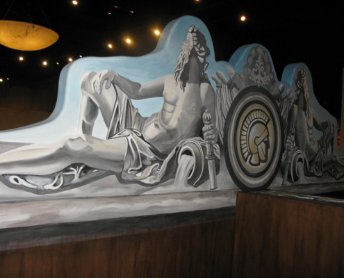Seattle Mural Trompe L'oeil Roman Statue Mural Roman Casino Seattle hospitality ideas statues mural painter restaurant murals Bellevue Kirkland murals trompe l'oeil doorways and views