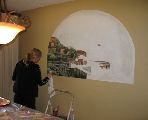 murals trompe l'oeil doorways and views Sorrento by the Sea Mural In Progress Dining Room Tacoma muralist Seattle