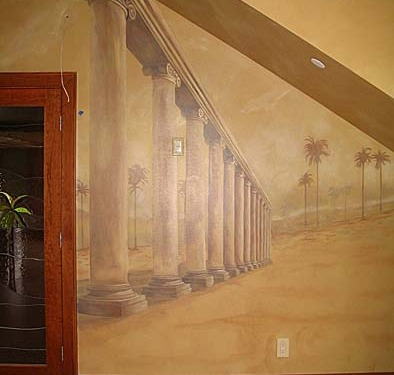 Sepia Murals Architectural Palm Tree Mural in Bonus Room Seattle Columns wood doors palm trees muralist