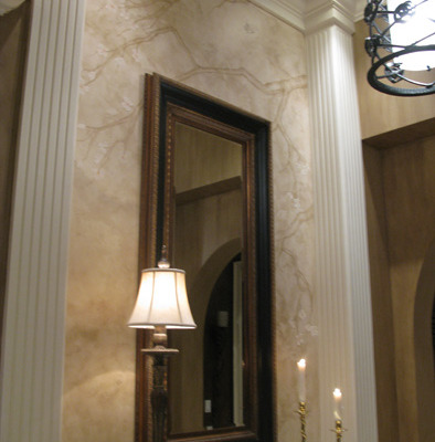 venetian plaster italian plasters Architectural Faux Finish Entry Kirkland Interior design ideas seattle cherry blossom subtle chandelier bellevue Seattle decorators