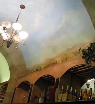 Cloudscape on Ceiling in Wine Cellar Mercer Island Wine racks chandelier Kirkland Decorator