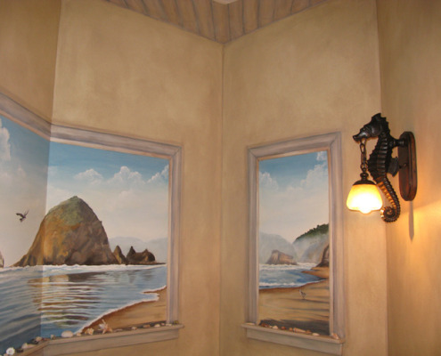 murals trompe l'oeil doorways and views Northwest Canon Beach Mural Powder Room Redmond landscape water ocean mural artist Kirkland