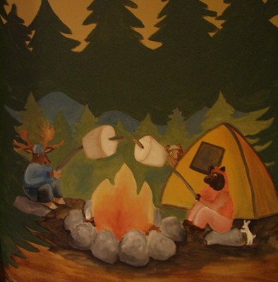 children's rooms Moose and Bear Camping Mural Redmond campfire kids trees tent marshmellows kids designs