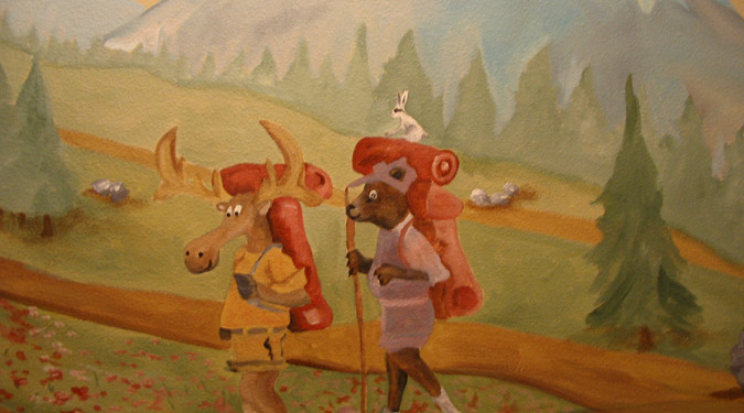 children's rooms Moose and Bear Camping Mural Redmond mountains landscape kids ideas Samammish