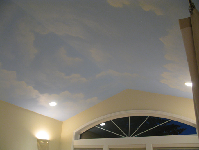 Cloud ceiling murals and painted phrases paradise studios for How to make clouds on ceiling
