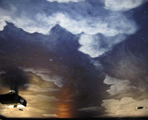Midnight sky Ceiling in Home Theater Bellevue Snohomish mural artist designs