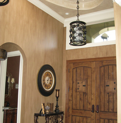 Architectural Faux Finish Entry Kirkland old world doors contemporary iron chandelier houzz