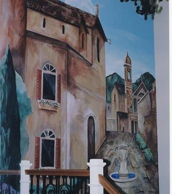 Italian Village Mural with Fountain Entryway Sammamish Interior decorator mural artist Seattle Kirkland