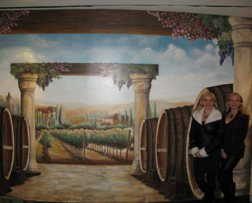 Wine Barrel and Vineyard Mural at the Venetian Hotel Las Vegas decorating wine cellar ideas houzz muralist hospitality murals Redmond murals trompe l'oeil doorways and views
