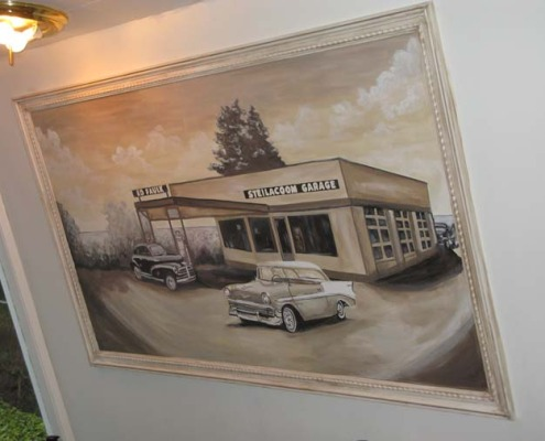 Sepia Murals Vintage Car Mural Olympia Bellevue classic cars mural art commissioned art