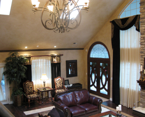 Architectural Faux Finish Living Room Bellevue interior designers house painters old world chandelier glass and wood doors