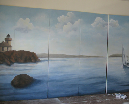 murals trompe l'oeil doorways and views View From the San Juan Islands Mural Seattle seaside ocean orca whales landscape Woodinville