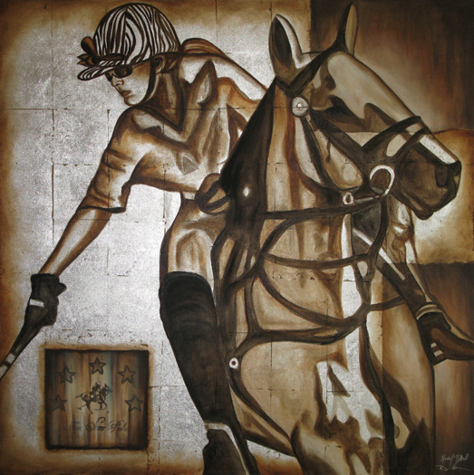 Polo Girl Contemporary Original Mixed Media and Olil Painting Commission on Canvas custom polo art portraits silver foil horse art