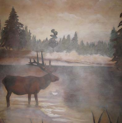 Sepia Murals Northwest Elk Mural Woodinville fog forest lake mural artist painter Bellevue