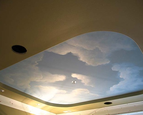 Cloud ceiling murals and painted phrases paradise studios for Cloud mural ceiling