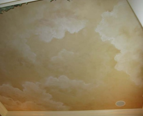Sepia Cloud Scape Ceiling in Formal Living Room Kirkland ceiling art Kirkland puffy clouds