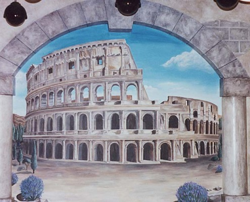 Seattle Mural Roman Colosseum Trompe L'oeil Mural Roman Casino Seattle ruins columns Rome ideas mural artist restaurant murals Bellevue Tacoma murals tromp l'oeil doorways and views