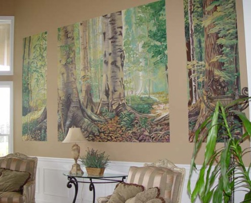 murals trompe l'oeil doorways and views Northwest Forest Mural Formal Living Room Bellevue trees woods decorators mural artist striped chairs lamp Seattle