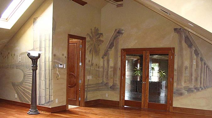 Sepia Murals Architectural Palm Tree Mural in Bonus Room Seattle cherry hardwood floors trees desert mural artist art