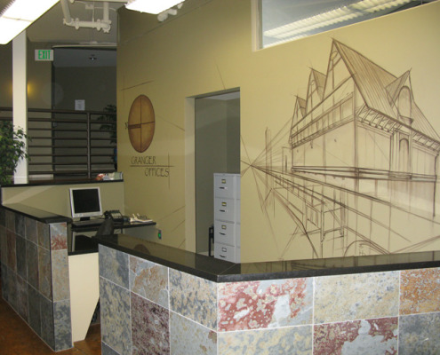 Sepia Murals Architectural Mural Granger Offices Seattle blueprint mural slate tile house interior designs Redmond