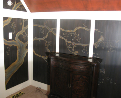 Sepia Murals Asian Tree Mural in Bedroom Redmond Seattle gold tree wall art artist Woodinville