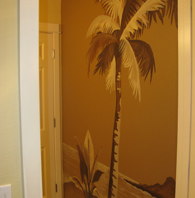 Sepia Murals Palm Tree Mural in Bathroom Bellevue Maple Valley Bathroom design ideas