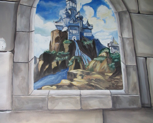 Dragon Castle Mural in Hidden Staircase Olympia faux stone boys kids rooms design ideas Seattle