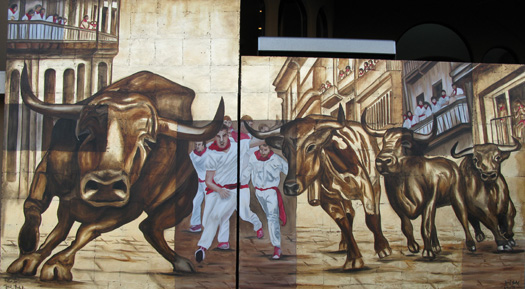 Running With The Bulls Original Oil Painting Commission Oils and 'Mixed Media On bulls art gold foil large commissioned painting