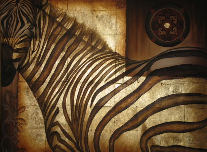 Knowing Glance Original Zebra Painting Mixed Media On Canvas gold foil art animal art safari animal