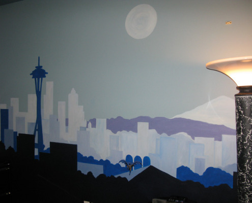children's rooms Seattle Skyline Boys Room Mural Sammamish moon space needle kids ideas buildings Woodinville