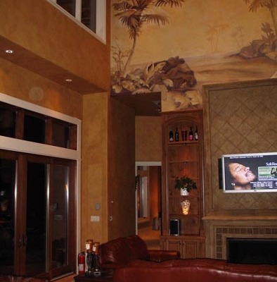 Architectural Faux Finish Great Room Kirkland Interior design ideas fireplace mural chandelier houzz