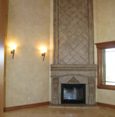 Architectural Faux Finish Great Room Bellevue seattle house painters stone fireplace mantle travertine floors