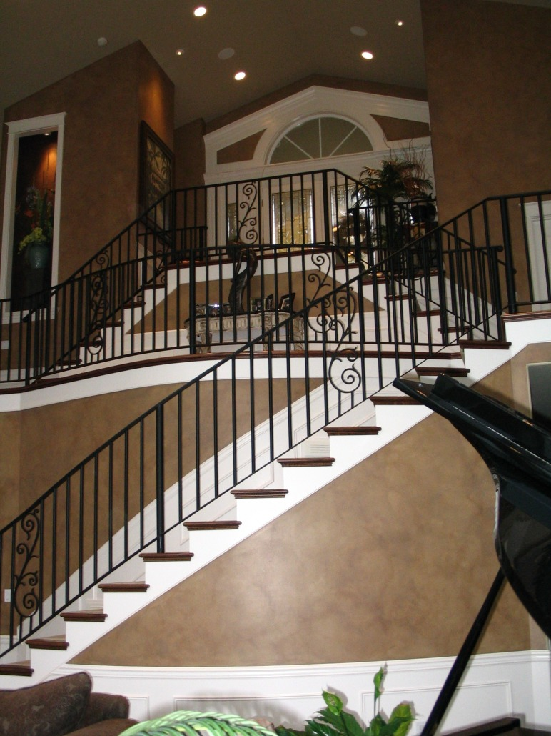 After Picture Architectural Faux Finsih Entryway Seattle iron railing grand piano decorators Bellevue