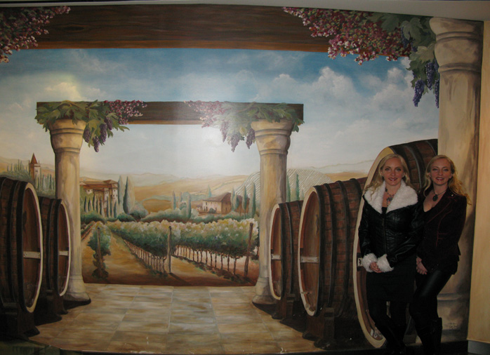 wine cellar murals Italian Vineyard Mural The Venetian Palazzo Las Vegas wine barrels art mural seattle bellevue kirkland