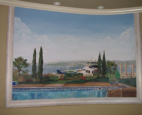 murals trompe l'oeil doorways and views Close Up of Secret Room With a View Mural - View of Front yard Kirkland swimming pool yacht float plane cypress trees Tacoma