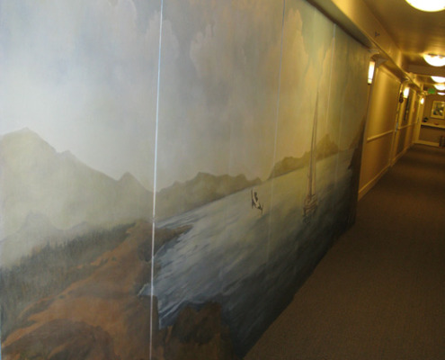 murals trompe l'oeil doorways and views San Juan Islands Light House Mural Seattle muralist Bellevue Bellevue Kirkland