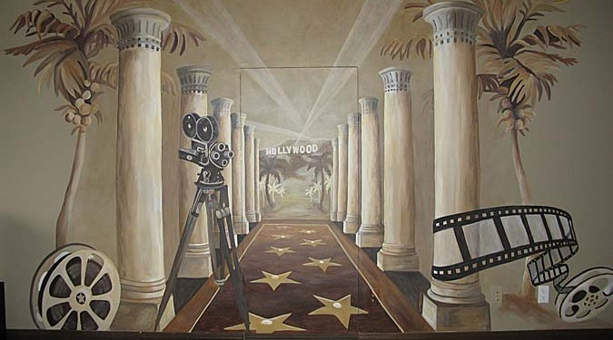 Sepia Murals Hollywood Mural in Home Theater Redmond film reel hollywood columns mural painter Seattle