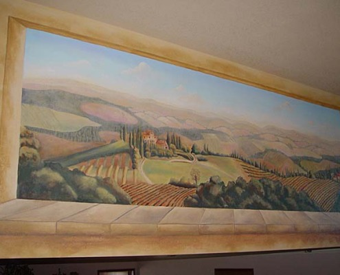 Italian Hillside Vineyard Mural in Entry Redmond design ideas landscape mural restaurant Bellevue murals trompe l'oeil doorways and views