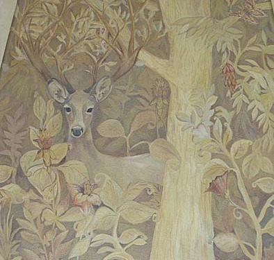 Sepia Murals Gothic English Forest Mural Living Room Olympia Issaquah stag flowers mural painter