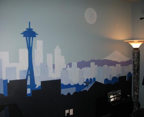 children's rooms Seattle Skyline Boys Room Mural Sammamish blue space needle kids mount Rainier interior designer Redmond