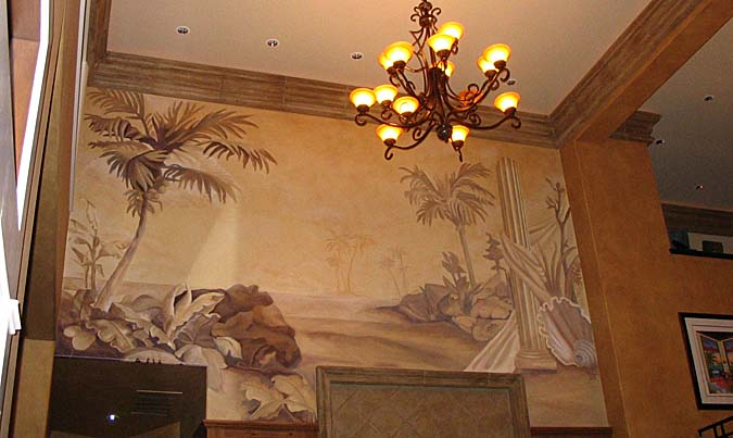 Sepia Murals Tommy Bahama Tropical Mural Living Room Kirkland Palm trees sepia tones mural artist muralist iron chandelier