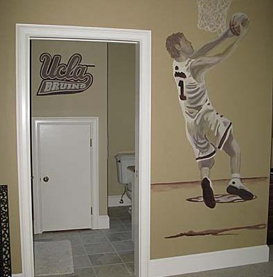 children's rooms Basketball Mural Boy's Room Bellevue sports kids designer ideas decorating muralist Seattle