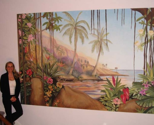 Hawaiian Tropical Mural in Entry Bellevue desingner ideas muralist palm trees flowers murals Kirkland murals trompe l'oeil doorways and views