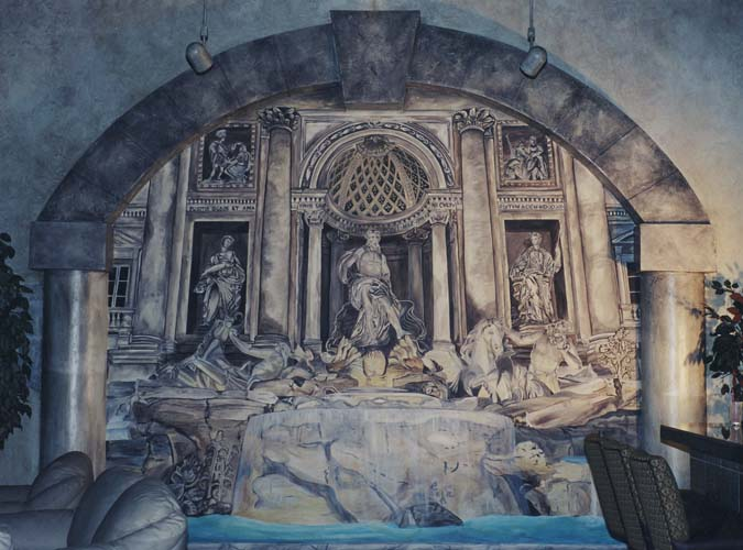 Seattle Mural Trevy Fountain Trompe Loeil Roman Casino Interior Design Ideas Houzz
