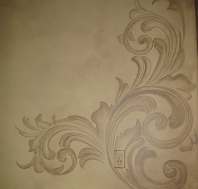 Tea Stained Acanthus Scroll Design Hallway Redmond ideas decorating damask scroll wall designs Seattle