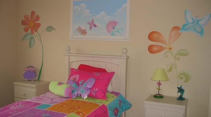 children's rooms Whimsical Flower Design Girls Room Mural Seattle flowers pink purple orange bedspread kids room Bellevue