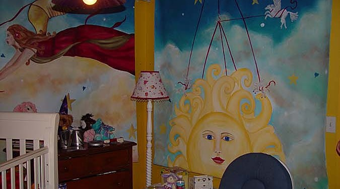 children's rooms Fantasy Fairy and Moon Girls Room Mural Seattle sun clouds moon dream baby kids decorating Kirkland